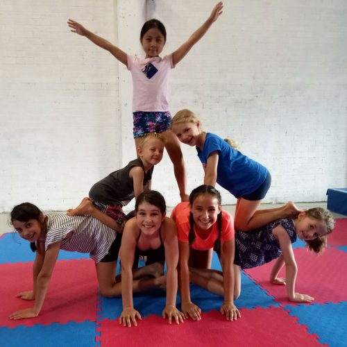 Acrobatic pyramid in the school holidays at the Circus Akimbo vacation care program